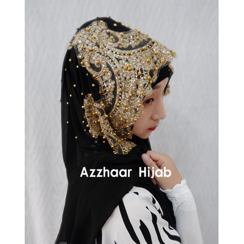 Woman Hijab Solid Color Rhinestone Beading Sequins Chiffon Silk Popular Shawls Scarf Headband Muslim Turban Abaya Diamonds