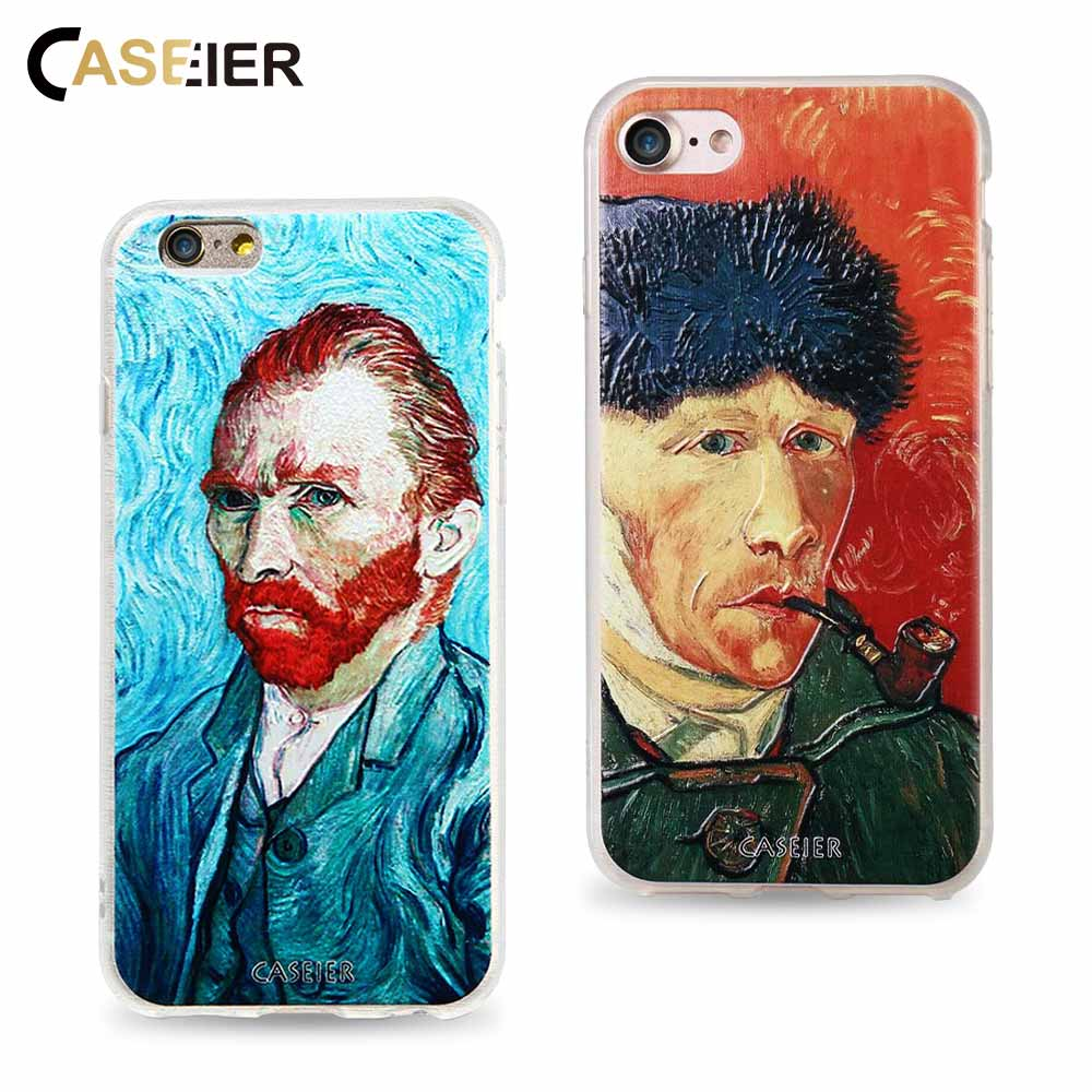 CASEIER Phone Case For iPhone 6 6s Plus Soft TPU Ultra-thin Van Gogh Cover Samsung S6 S7 Edge Relief Silicone phone Shell