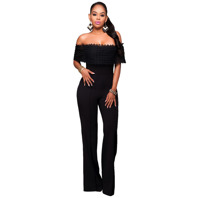 2017 New womens jumpsuit Winter Herfst Sexy Club Party Zwart Kant Strapless Off-Schouder Losse Een Stuk Mermaid Vrouw Jumpsuit
