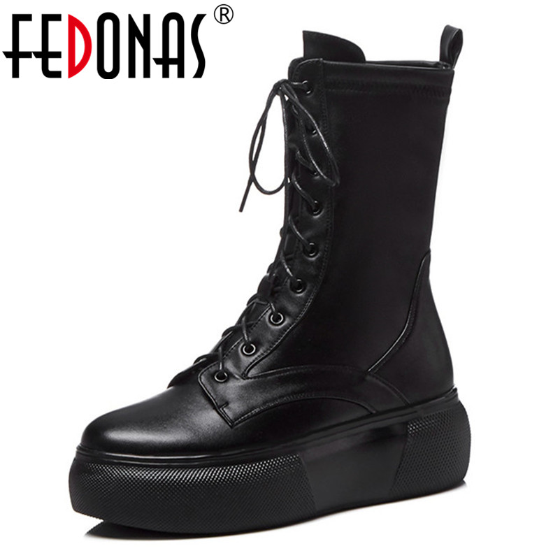 FEDONAS Lace Up Boots 2019 Fashion Thick Heel Mid calf Boots Women High Heels Autumn Winter