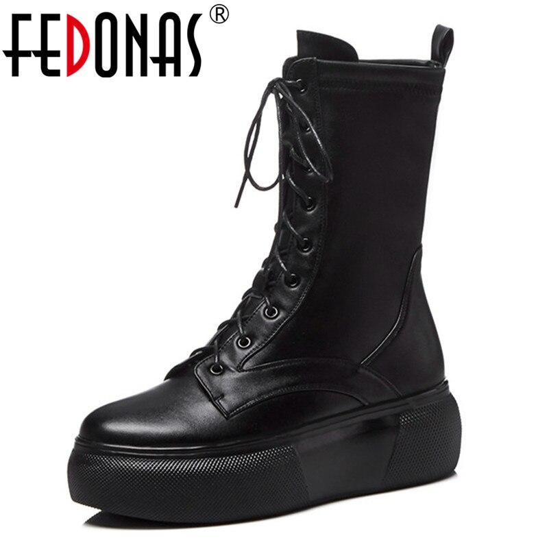 FEDONAS sznurowane buty 2019 mody gruby obcas połowy łydki buty damskie buty na wysokim obcasie jesień zima buty kobieta platformy buty w Buty do połowy łydki od Buty na  Grupa 1