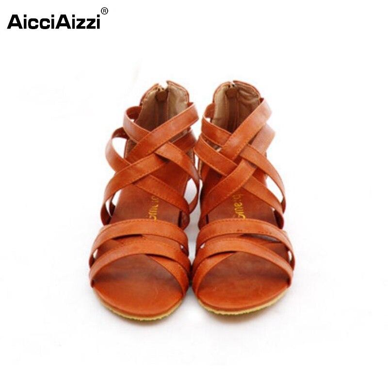 Women Cross Strap Flat Sandals Brand Gladiator Sexy Lady Flats Sandalias Beach Zipper Leisure Footwear Shoes