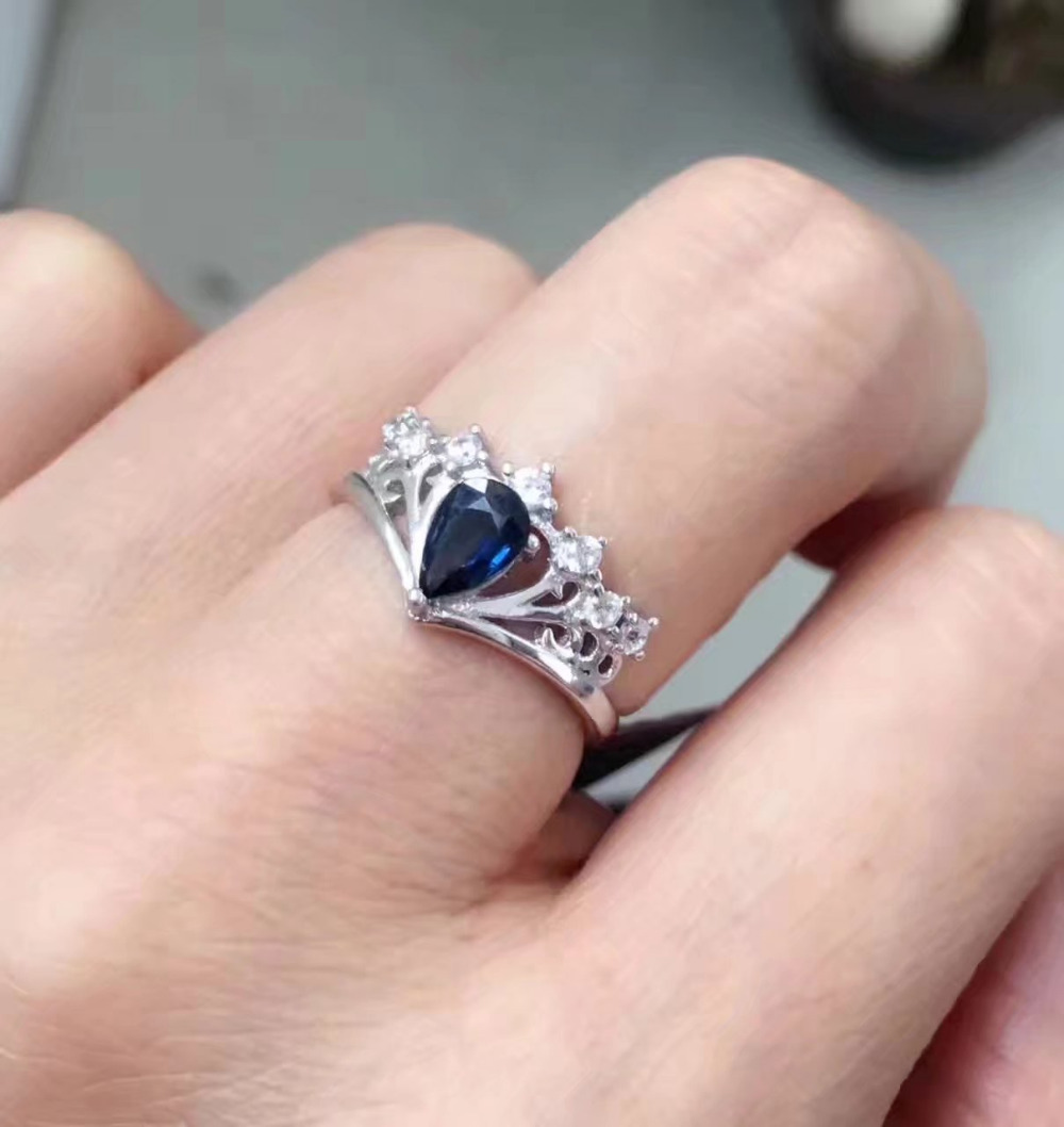 Natural sapphire stone Rings s925 sterling silver Natural 4*6mm blue ...