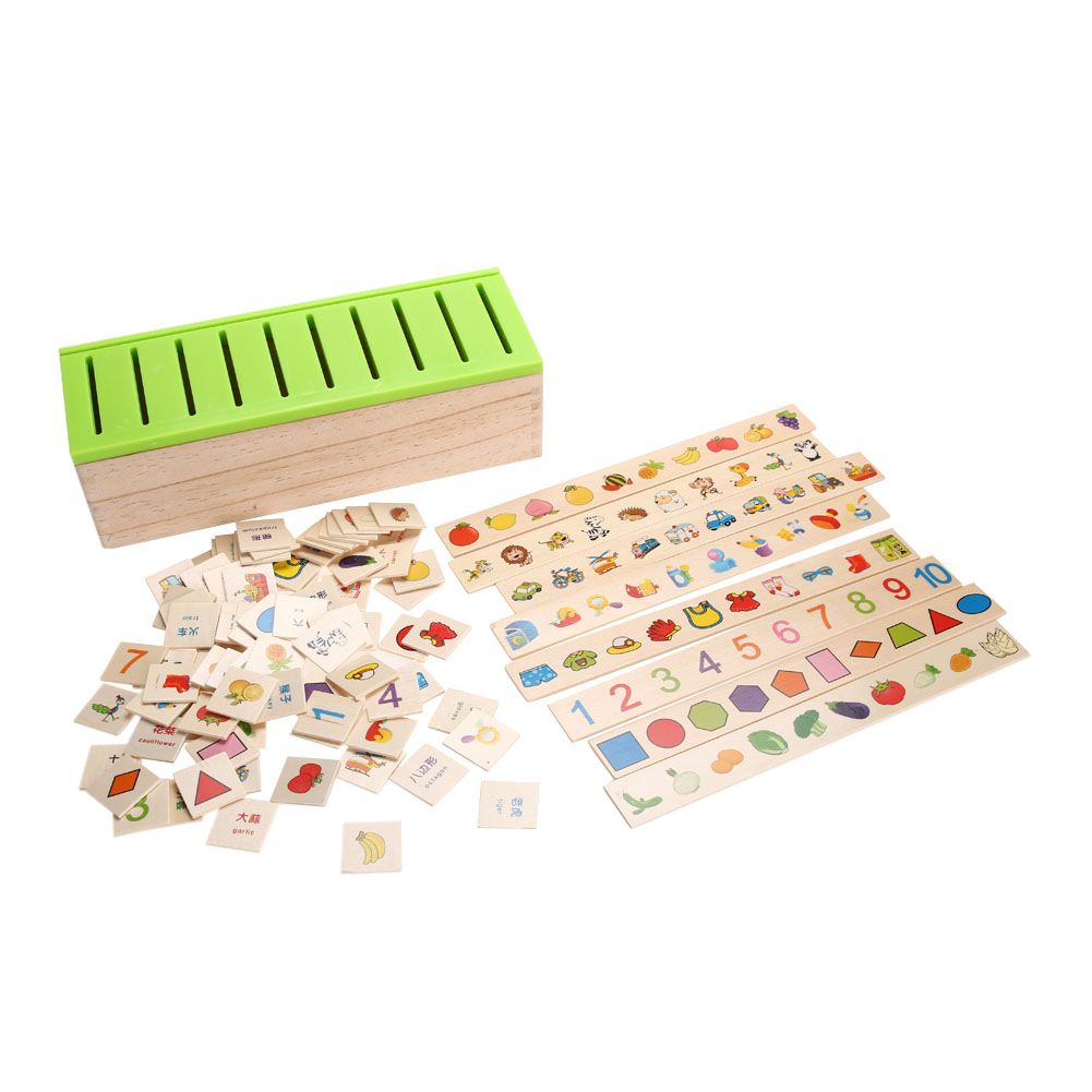 Montessori wood blocks kids Domino Toy Educational Wooden Creature Blocks Children Early Learning Classification Box Brinquedos