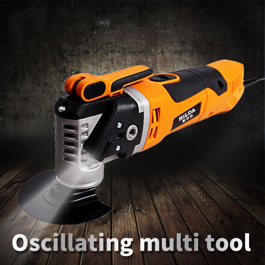 Multi-fonction électrique scie rénovateur outil oscillant tondeuse maison rénovation outil tondeuse outils de travail du bois couleur-boîte emballage