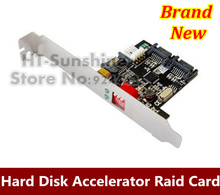 Hot sale 3PCS/LOT 2 Ports Internal SATA 2 II Dual Channel Hard Disk Accelerator Card Raid 0/1 Card