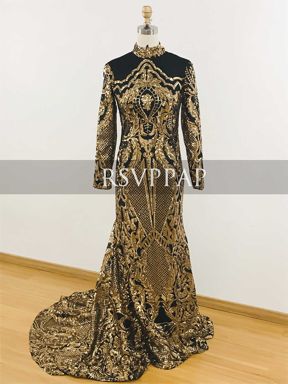 e0f711472b57a ... Long Prom Dresses 2019 Sexy High Neck Mermaid Long Sleeve Gold Sequin  Sparkly African Black Girl ...