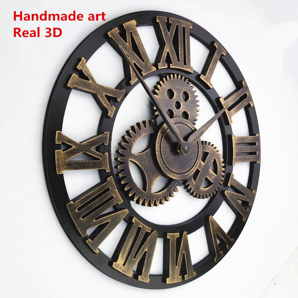 handmade oversized 3d retro rustic decorative luxury art big gear wooden vintage large wall clock on