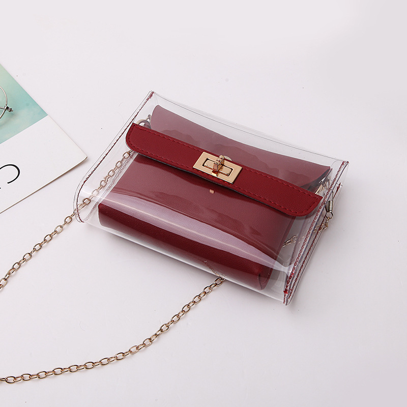 Women PVC Clear Bag Fashion Transparent Candy Color Chain Crossbody Shoulder Bags Luxury Ladies Casual Mini Clutches SS7452