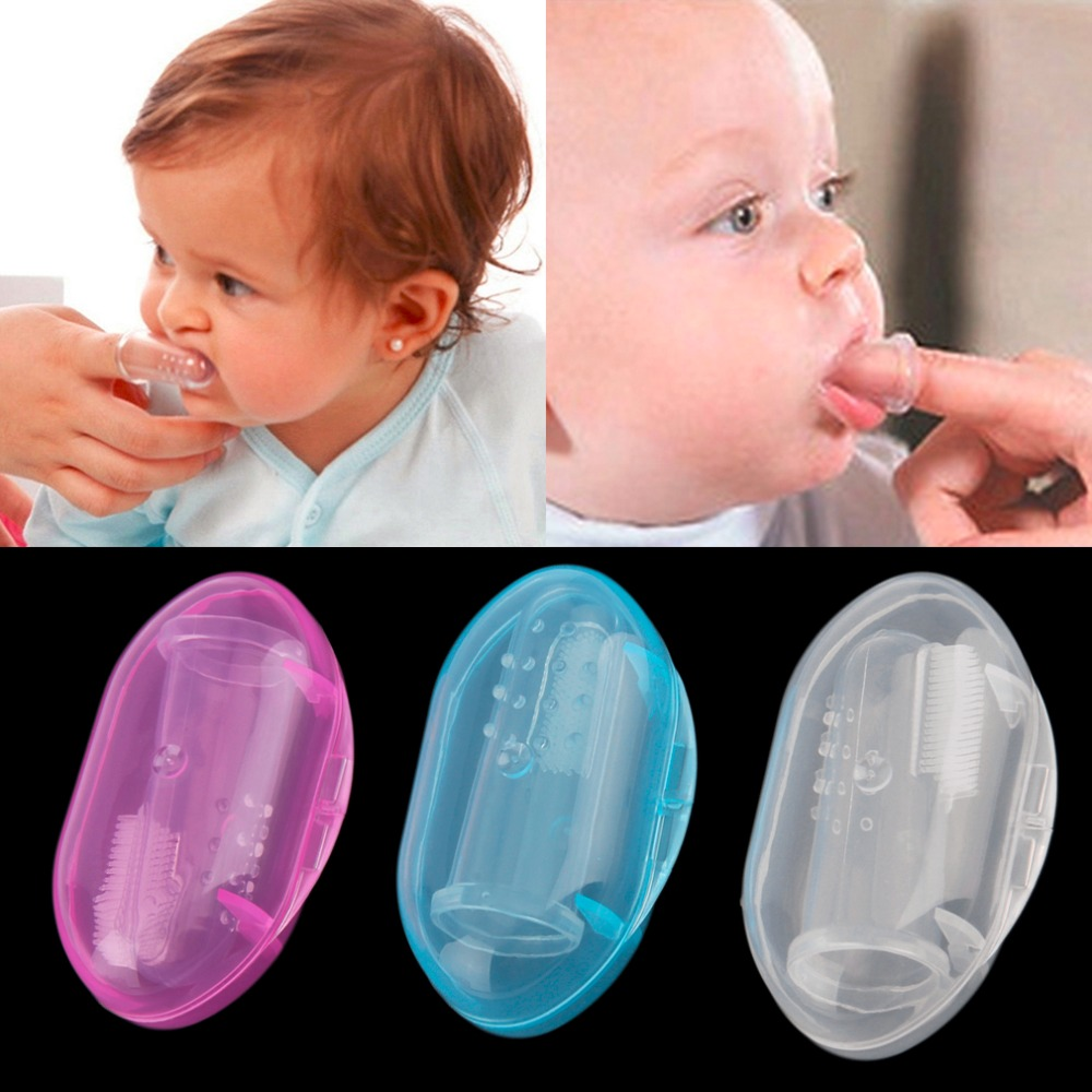 Kids Baby Infant Soft Silicone Finger Toothbrush Teeth Rubber Massager With Box Useful Healthy Massager Brush for children image