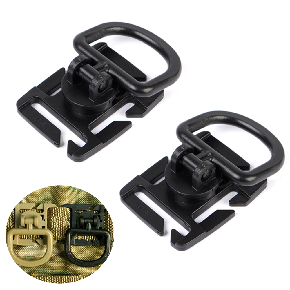 2Pcs Tactical Airsoft D-ring Clips Buckle Molle Web Attachment Clamp With D Buckle For Backpack Vest Belt Hunting Accessory