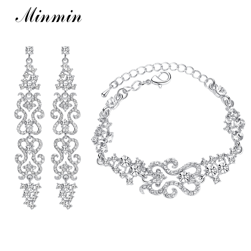 Minmin 2 Colors Bridal Crystal Jewelry Sets for Women