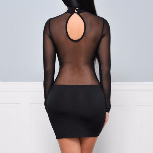 Sexy Women Dress See Through Mesh Bandage Bodycon Long Sleeve Women Clothes Evening Sexy Party Clubwear Sexy Women Dress See Through Mesh Bandage Bodycon Long Sleeve Women Clothes Evening Sexy Party Clubwear Sexy club style dress