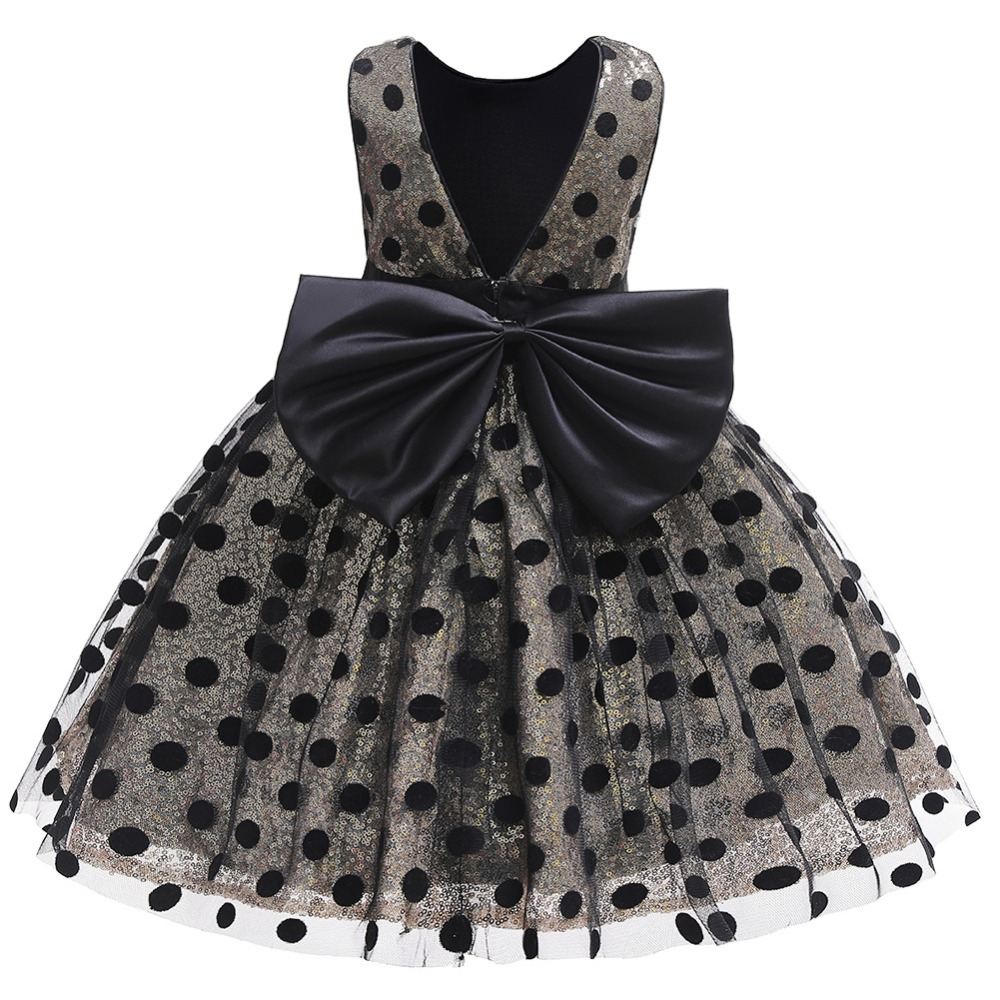 Girls Sequin Dress 2019 Fashion Kids Clothes Children Wedding Party Princess Dresses For Baby Girl Dot Bow Backless Tulle Dress (9)