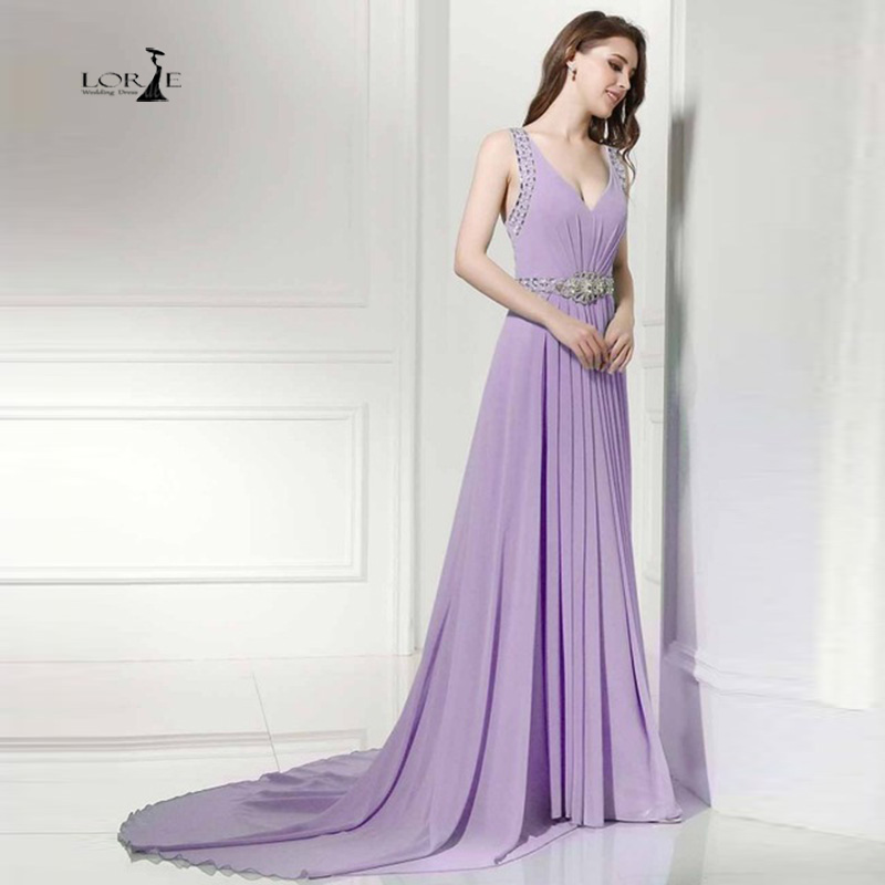 LORIE Bridesmaid Dresses Cheap Lavender Chiffon Long V Neck Chiffon Wedding Party Dress 2017 Elegant Women Formal Gowns