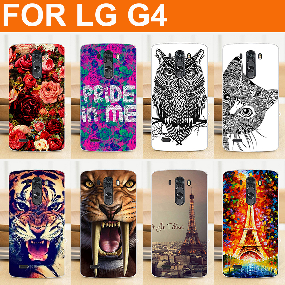 phone accesories factory retail Store fashion 14 patterns painted colored flowers animals Eiffel Tower Case cover FOR LG G4 / diy painting Hard Case Cover FOR LG G4