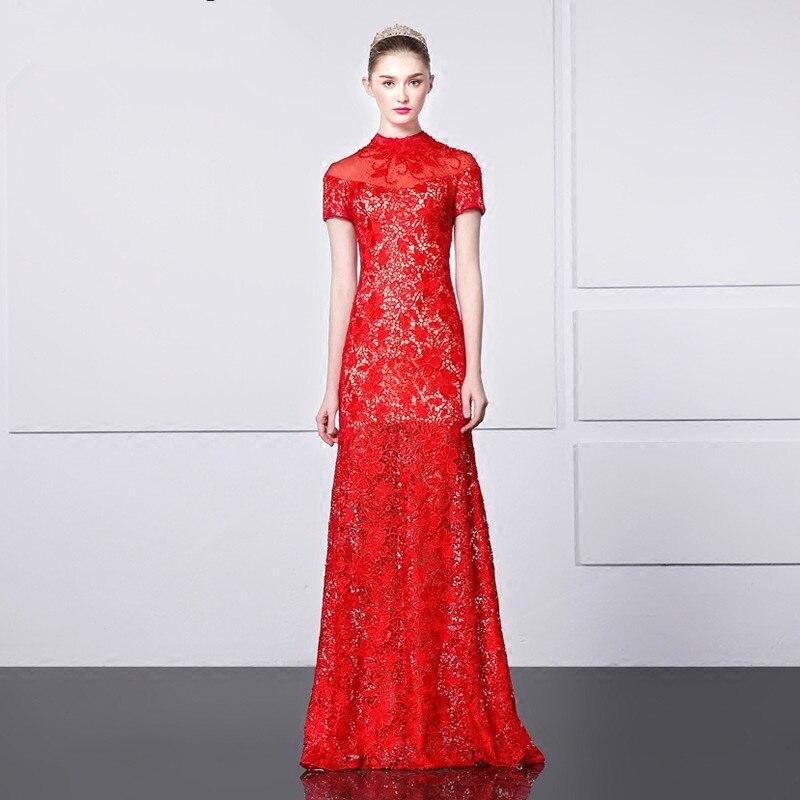 Robe De Soiree 2018 Long Beading Vestido De Festa Red Lace Evening Elegant High Neck Short Sleeve Mother Of The Bride Dresses