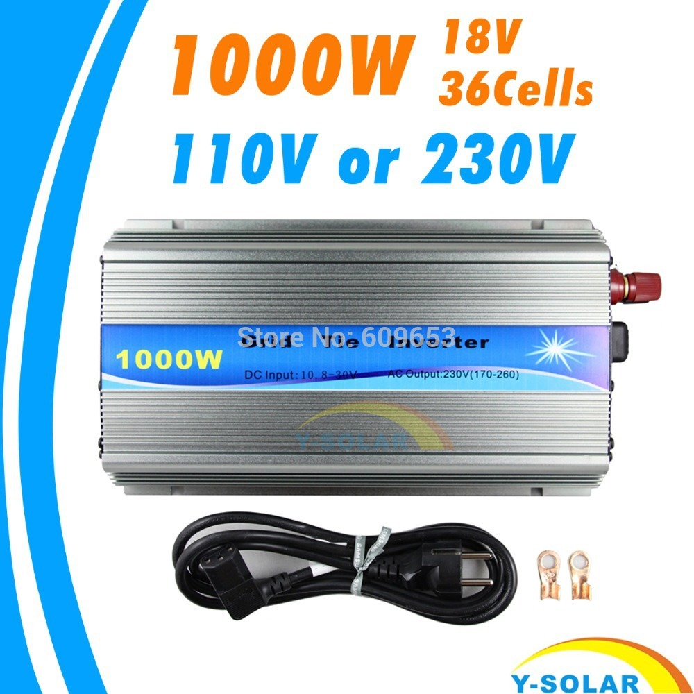 Фото Grid Tie Inverter 1000W MPPT function Pure Sine Wave 110V OR 220V output 18V Input Micro On Grid Tie Inverter 18V 36 Solar Cells