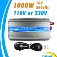 Grid Tie Inverter 1000W MPPT function Pure Sine Wave 110V OR 220V output 18V Input Micro On Grid Tie Inverter 18V 36 Solar Cells