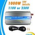 Inversor Grid Tie 1000 W MPPT função de onda senoidal pura 110 V ou 220 V saída 18 V entrada Micro na grade empate inversor 18 V 36 células solares