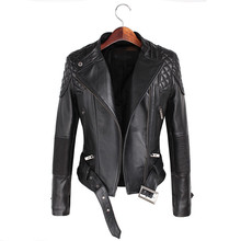 Leather Jackets Women 2017 Spring Autumn Rivet Zipper Motorcycle Faux Leather Coat Female Paragraph Lapel Jacket