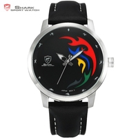 SHARK Sport Watch 2016 Olympic Games Black Face 5 Color Flame Genuine Leather Olive Back Wristwatch