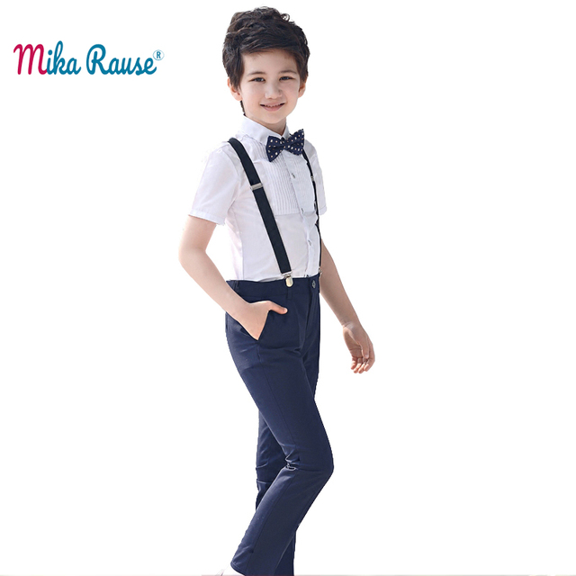 Fashion school kids boys clothes sets white cotton shirts children trousers clothing student uniform summer costume(shirt+Pants)