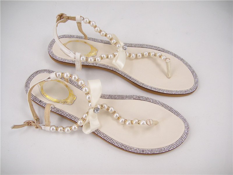 Free Shopping Rhinestones Bridal Sandals  Flat Wedding Shoes  Ivory Pearls  Sandals Flat Beaded Flip Flops Pink Lilac  Size 4 11-in Women s Sandals  from ...