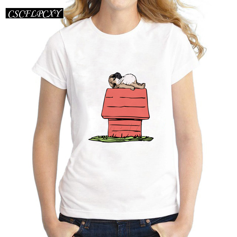 Asian Size Pug House Design Women T-shirt Animal Cartoon Dog Printed Shirts Short Sleeve Casual Lady Tops Hipster Funny Cool Tee