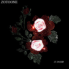ZOTOONE Stone Rhinestones Applique Flower Clear Hot Fix Iron on Rhinestone Clothes Decoration Strass Needlework Crystals E
