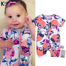 Newborn Bebe Jumpsuit baby Rompers Baby Boy Girl Cute flower printed Romper cotton Infant Babies Clothes Meninas Jumpsuit цена 2017