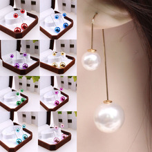 Hot 1 Pair Girls New Fashion Elegant Double Pearl Drop Dangle Long Earrings 19 Colors Jewelry Gift