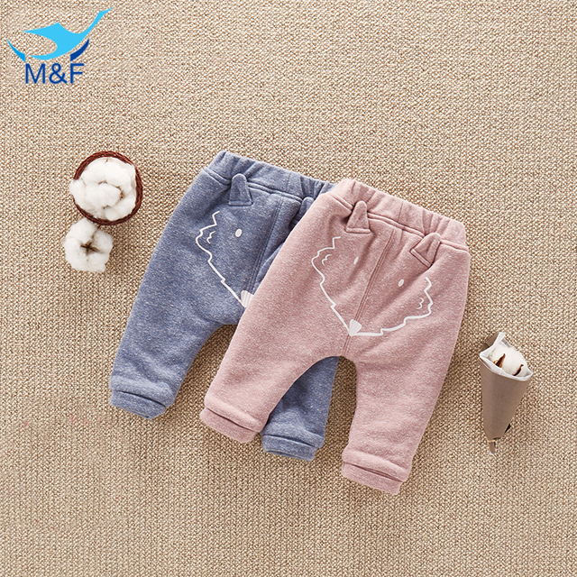 M&F Winter Baby Pants Children Casual Thick Warm Boys Trousers For Kids Girls Cotton Harem PP Pant Cartoon Children's Trousers