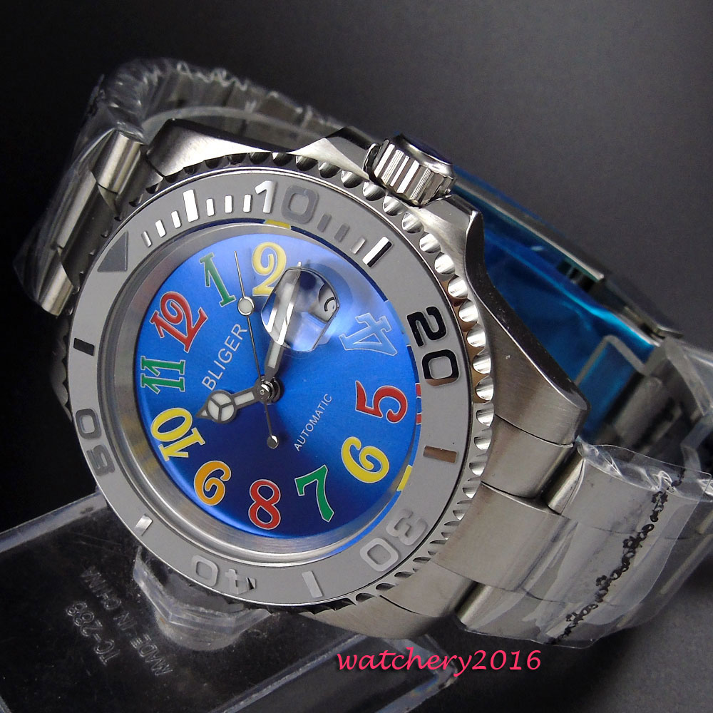 New 40mm BLIGER Blue Dial Sapphire Glass Stainless steel Case Rotating Bezel Top Brand Luxury Automatic Movement mens WatchNew 40mm BLIGER Blue Dial Sapphire Glass Stainless steel Case Rotating Bezel Top Brand Luxury Automatic Movement mens Watch
