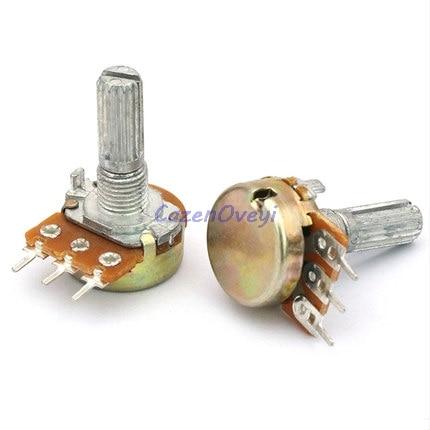10pcs/lot WH148 15mm Shaft Amplifier Dual Stereo Potentiometer B1K B2K B5K B10K B20K B50K B100K B500K 3Pin 1K 2K 5K 10K 50K 100K