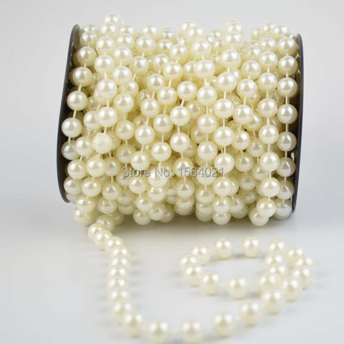 Pearl Garland For Christmas Tree: Ivory 10mm Faux Round Pearl Garland Spool Christmas Tree