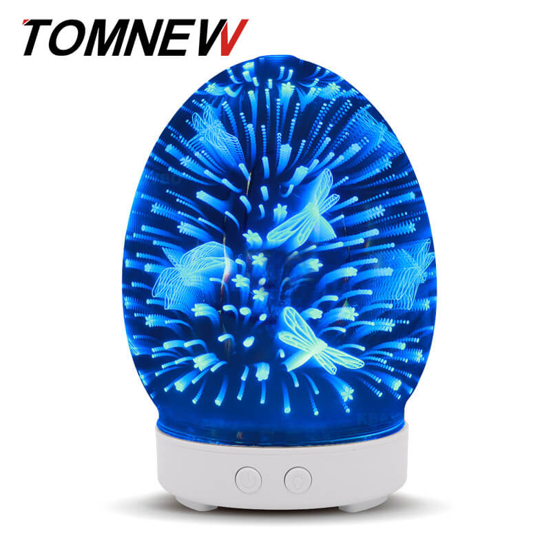 все цены на TOMNEW 100ml 3D Glass Aromatherapy Ultrasonic Essential Oil Diffuser Aroma Diffuser Cool Mist Humidifier for Home Office Bedroom онлайн