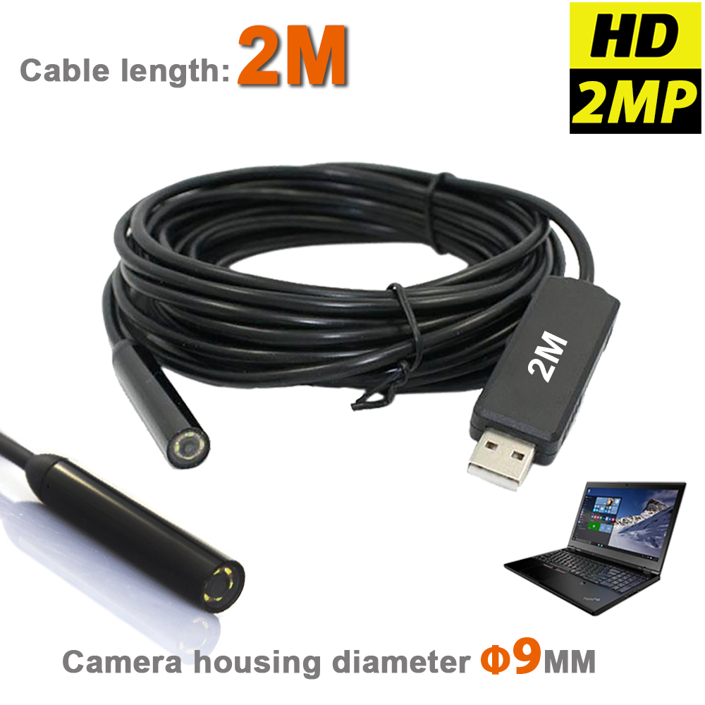 Hochauflösende wasserdichte USB Endoskop MINI Kamera 2MP 9mm Borescope Snake Inspection Tube Pipe Videokamera mit 2M Kabel