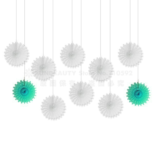 10 pcs 12cm Snowflake Pinwheels Tissue Paper Fans Hanging Flowers Decoration For Wedding Engagement Baby Shower Birthday Party in Party DIY Decorations from Home Garden