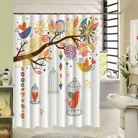 Wasserdicht Stoff Duschvorhang Niedliche Design Baum Vögel Muster 3d Druck Bad Produkt Beste Geschenk für Haus Erwärmung