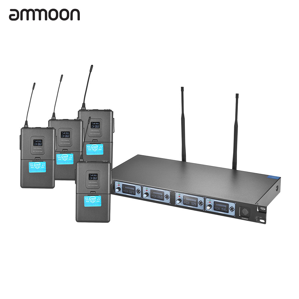 Professional 4 Channel UHF Wireless Microphone System 4 Mic 1 Wireless Receiver LCD Display for Karaoke