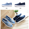 Women Unique Design Canvas Casual Denim Shoes 2017 New Spring Autumn Slip-on Rivet Low-cut Lazy Shoe Tenis Feminino