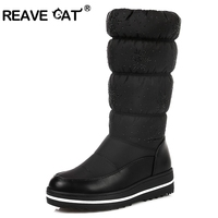 REAVE CAT Warm Woman Boots Snow Boots Winter Mid Calf Botas Down+Pu Shoes Woman Cystal Elastic Band Plush Mixed Color A206