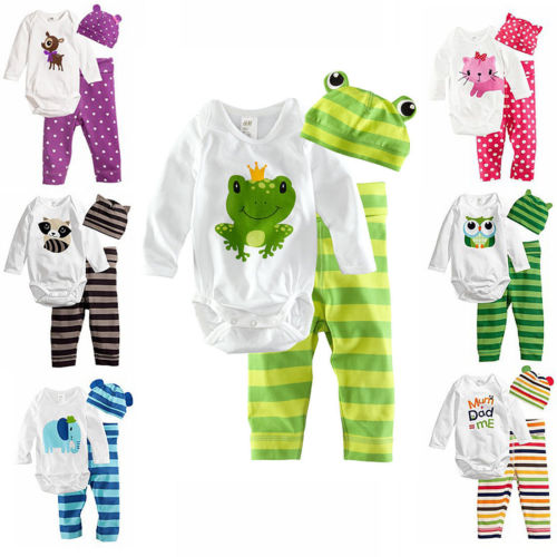 3pcs Baby Boy Girls Kids Romper Bodysuit Jumpsuit Cap Top AND Pants AND Hat Clothing Set