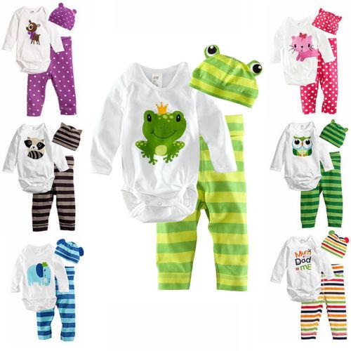 3pcs Baby Boy Girls Kids Romper Bodysuit Jumpsuit Cap Top AND Pants AND Hat Clothing Set