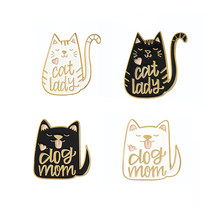 Black White Dog Mom And Cat Lady Metal Enamel Brooch Fashion Cute Cat Dog Badge Pin Fun Trendy Costume Backpack Jewelry Gift(China)
