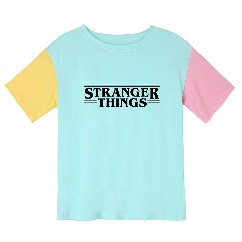 Men's Summer   T     Shirt   Stranger Things Cotton Letters Printed   T  -  shirt   Women Couple Lover Unisex Patchwork Hit Color Tops Drop Ship