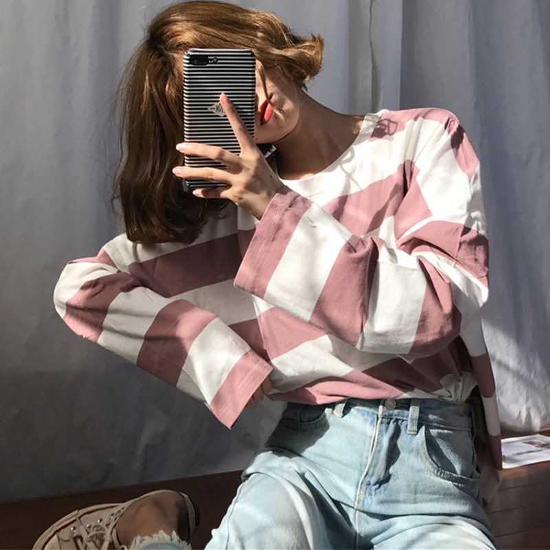 Korean Oversized Stripe T Shirt Harajuku Women Long Sleeve T-shirts Autumn Ulzzang Kawaii Pink Blue Black Basic Tee Casual Tops