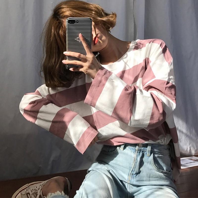 Camisa de manga comprida de harajuku de manga comprida de harajuku coreano listra oversized t-shirts outono ulzzang kawaii rosa azul preto básico camisetas casuais