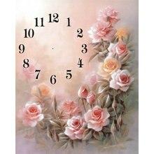 17d78f2c9 زهرة الماس المطرزة ساعة حائط مزينة 5d diy ألواح تلوين حرفية لامعة غرزة  اليدوية هواية الفسيفساء طقم الفن